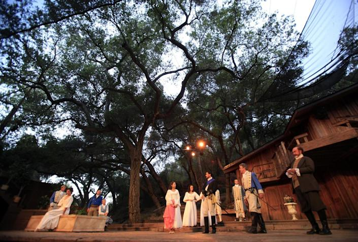 """An archival photo of """"Much Ado About Nothing"""" at the outdoor Will Geer's Theatricum Botanicum in Topanga."""