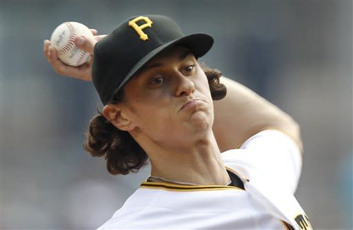 Pittsburgh Pirates relief pitcher Jeff Locke throws against the Chicago Cubs in the first inning of the baseball game on Sunday, Sept. 9, 2012, in Pittsburgh. (AP Photo/Keith Srakocic)