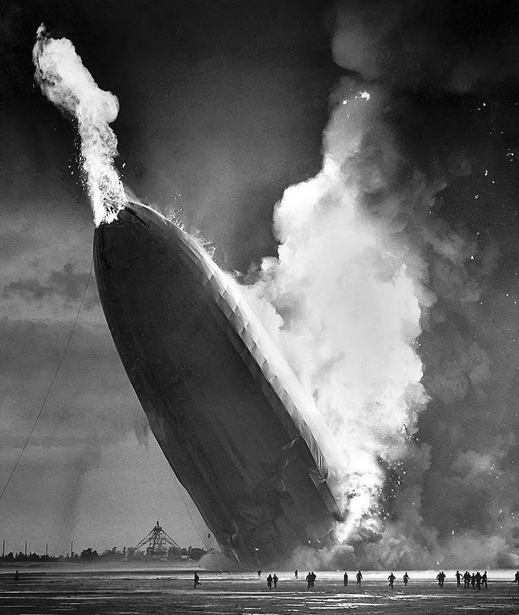 """<span class=""""caption"""">The hydrogen-filled Hindenberg airship destroyed by fire in 1937. Such a fire could not happen on a world with an oxygen-free hydrogen atmosphere.</span> <span class=""""attribution""""><span class=""""source"""">Murray Becker/Associated Press</span></span>"""