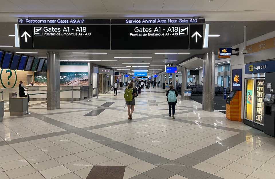 On a normal weekday, this concourse would be jammed with travelers. (Yahoo)
