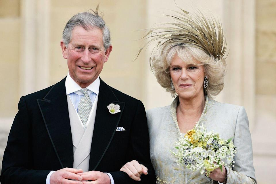 "<p>Prince Charles and Camilla tied the knot <a href=""https://www.townandcountrymag.com/society/tradition/g19135643/prince-charles-camilla-wedding-photos/"" rel=""nofollow noopener"" target=""_blank"" data-ylk=""slk:in a low-key ceremony"" class=""link rapid-noclick-resp"">in a low-key ceremony</a>. Accordingly, rather than a showy tiara, the Duchess wore an eye-catching Philip Treacy headpiece.</p>"