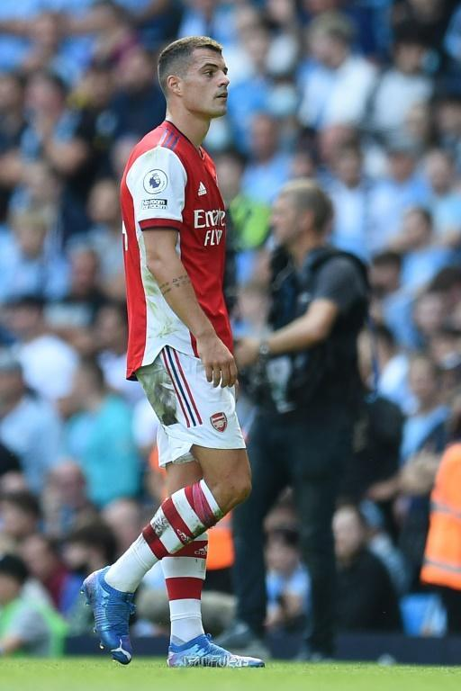 Granit Xhaka was sent-off for the fourth time in the Premier League (AFP/Oli SCARFF)
