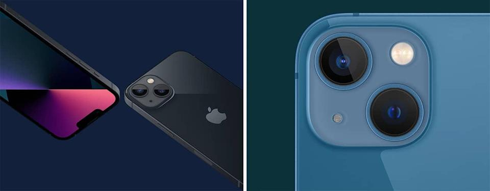 black and blue iphone 13 on solid color backgrounds