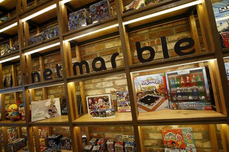 FILE PHOTO: The logo of Netmarble Games is seen at its headquarters in Seoul