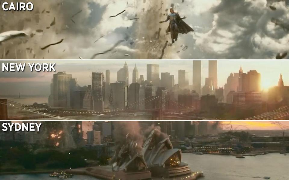 <p>As the X-Men land in Cairo, scenes reveal the destruction Magneto is wreaking around the world, where it is simultaneously daylight in New York, Sydney and Cairo – it is possible for it to be daylight in two of these locations at once, but not all three. Credit: 20th Century Fox </p>