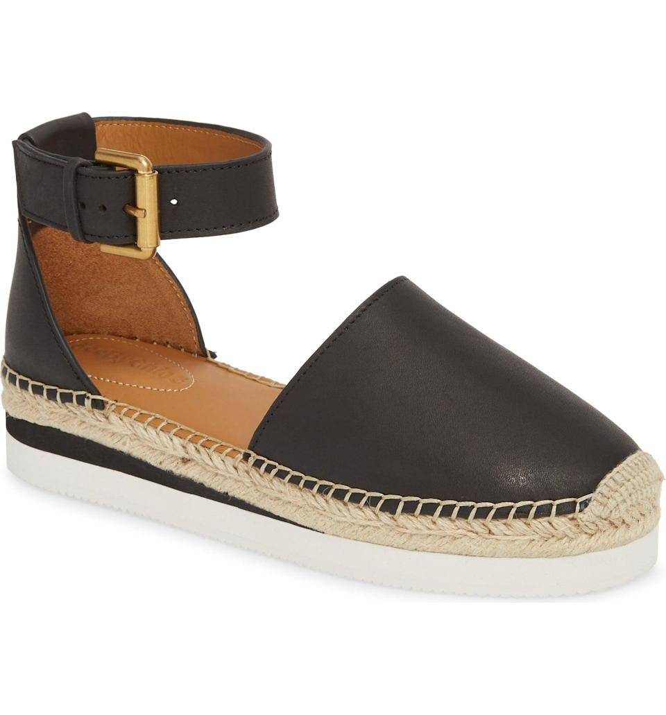 <p>The gold hardware of this <span>See by Chloé Glyn Espadrille</span> ($195) gives it a luxe look.</p>