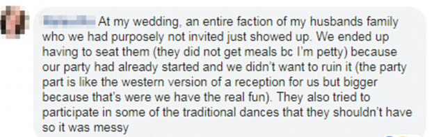 The bride shared her wedding disaster in a Facebook thread. [Photo: Facebook]life