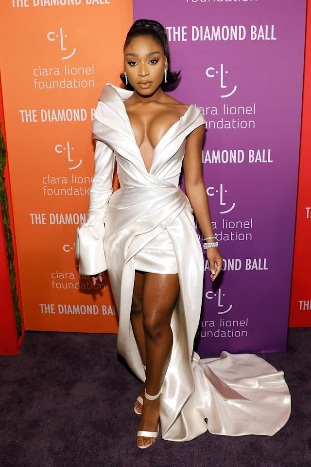 "<p>Normani is so skilled at walking the line between sexy and elegant. She looked incredible at <a href=""https://www.popsugar.com/fashion/normani-white-jaton-couture-dress-rihannas-diamond-ball-46616698"" class=""ga-track"" data-ga-category=""Related"" data-ga-label=""https://www.popsugar.com/fashion/normani-white-jaton-couture-dress-rihannas-diamond-ball-46616698"" data-ga-action=""In-Line Links"">Rihanna's 2019 Diamond Ball</a>. White is definitely her color, but we're mesmerized by the artful construction of her gown.</p>"