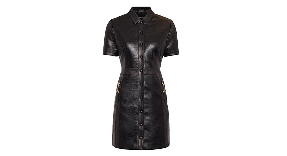 Crocodile Faux Leather Shirt Dress