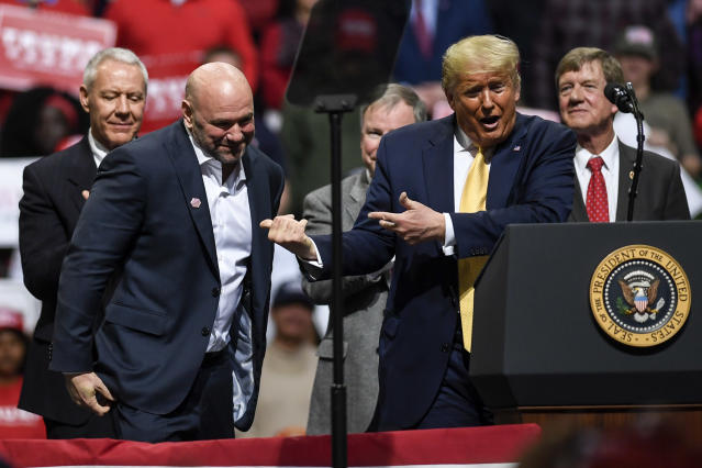 Dana White and Donald Trump have long been in each other's corners. (AAron Ontiveroz/The Denver Post/Getty Images/file photo)