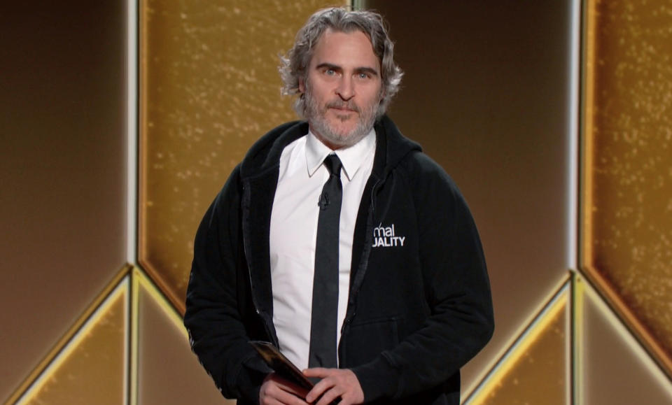 UNSPECIFIED: 78th Annual GOLDEN GLOBE AWARDS -- Pictured in this screengrab released on February 28, (l-r) Joaquin Phoenix speaks onstage at the 78th Annual Golden Globe Awards broadcast on February 28, 2021. --  (Photo by NBC/NBCU Photo Bank via Getty Images)