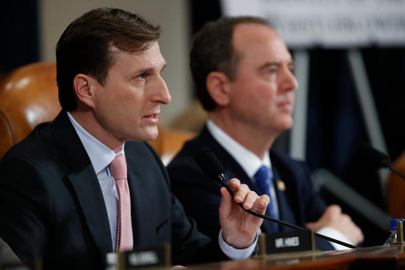 Daniel Goldman, director of investigations for the House Intelligence Committee Democrats, left, questions U.S. Ambassador to the European Union Gordon Sondland.