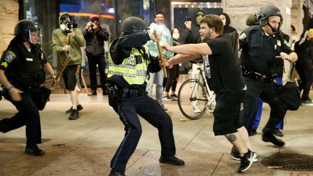 PHOTO: A man is arrested after tensions rose following a peaceful march in Boston, May 31, 2020. (Jessica Rinaldi/The Boston Globe via Getty Images, FILE)