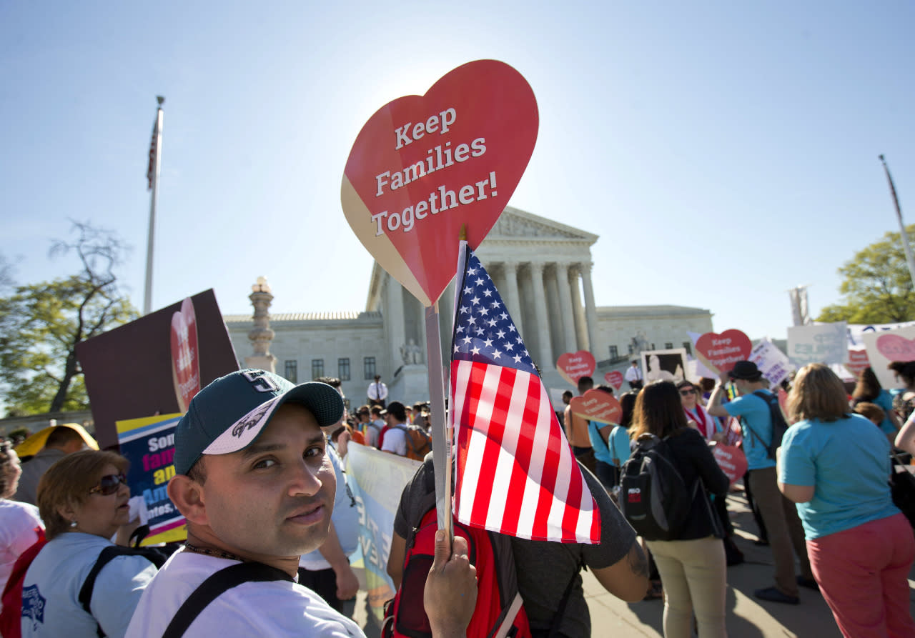 <p>Mario Gochez of New Jersey joins other supporters of immigration reform at the Supreme Court, April 18, 2016.<i> (Photo: Pablo Martinez Monsivais/AP)</i></p>