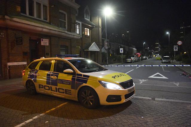 Police presence in Battersea Church Road, south London following an incident where a man was shot dead on Tuesday.