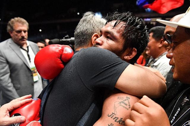 Pacquiao knocked down the big-puncher from Argentina as early as the third round (AFP Photo/Mohd RASFAN)