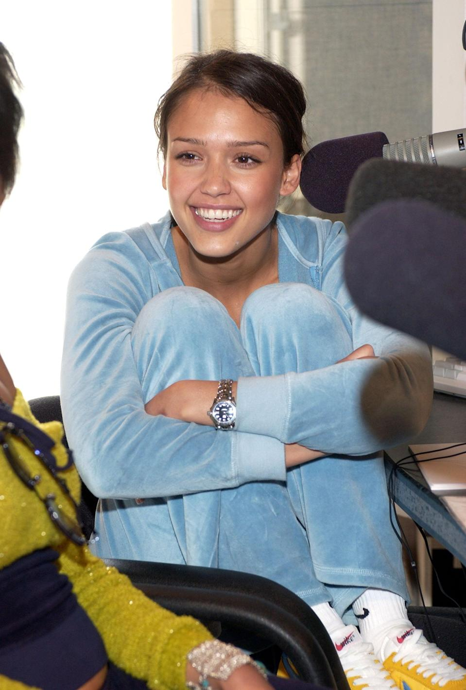<p>Wearing a baby-blue tracksuit and sneakers in 2002.</p>