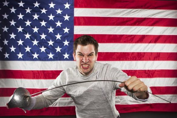 Fencer Tim Morehouse poses for a portrait during the 2012 U.S. Olympic Team Media Summit in Dallas, May 15, 2012.