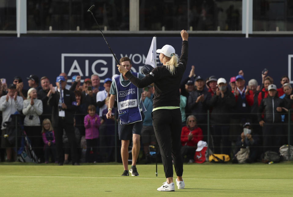 Sweden's Anna Nordqvist celebrates on the 18th green as she wins the Women's British Open golf championship, in Carnoustie, Scotland, Sunday, Aug. 22, 2021. (AP Photo/Scott Heppell)