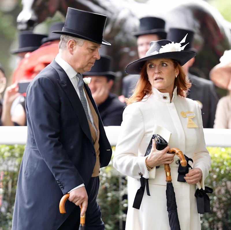 Prince Andrew and Sarah Ferguson look concerned at the Royal Ascot