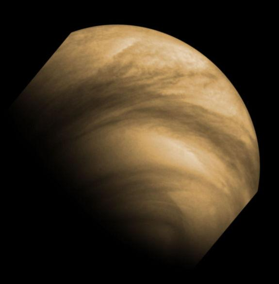 This false-color image of cloud features seen on Venus by the Venus Monitoring Camera (VMC) on the European Space Agency's Venus Express. The image was captured from a distance of 30 000 km on 8 December 2011. Venus Express has been in orbit ar