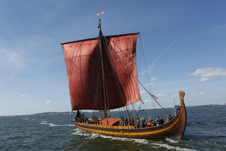 The Draken Harald Harfagre, a modern reproduction of an ancient Viking ship, sails into New York harbour in September 2016