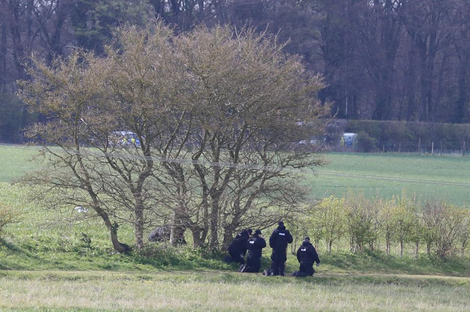 Police officers conduct a fingertip search near to the scene in Snowdown, Kent, where the body of PCSO Julia James was found. Kent Police have launched a murder enquiry following the discovery of the 53-year-old community support officer on Tuesday. Picture date: Thursday April 29, 2021.