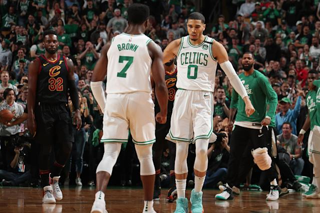 Jaylen Brown and Jayson Tatum are reportedly on the table for offseason trade talks for Anthony Davis. (Getty)
