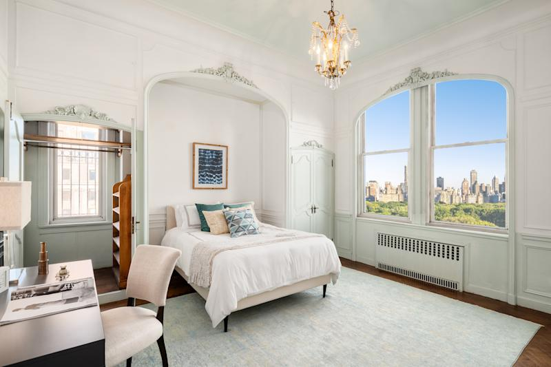 One of the bedrooms in Giorgio Armani's new home overlooks Central Park.
