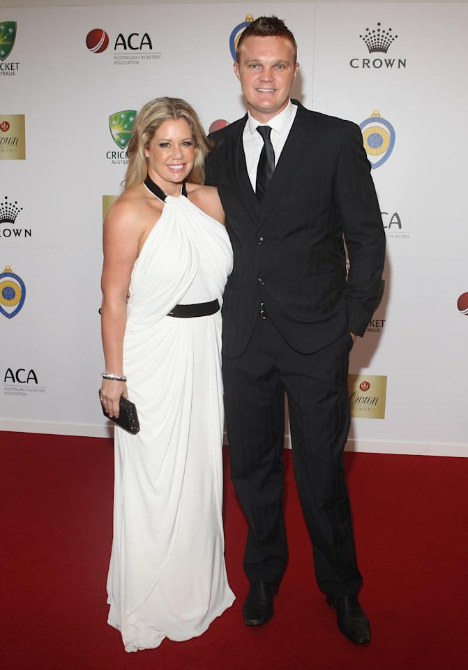 MELBOURNE, AUSTRALIA - FEBRUARY 27: Tegan Bollinger and Doug Bollinger arrive at the 2012 Allan Border Medal Awards at Crown Palladium on February 27, 2012 in Melbourne, Australia.  (Photo by Lucas Dawson/Getty Images)