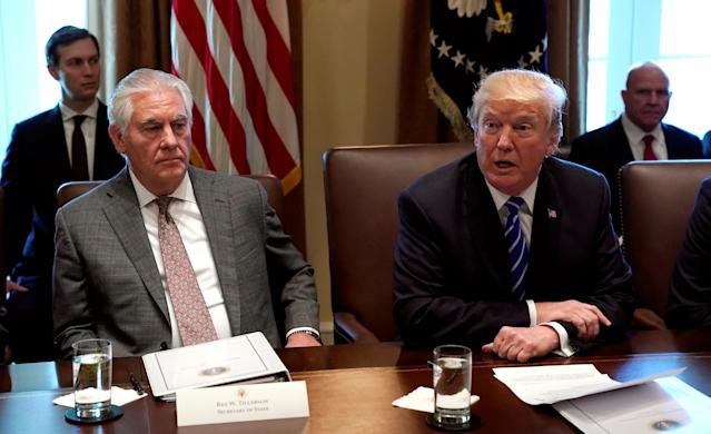 Secretary of State Rex Tillerson listens to President Trump speak during a meeting with his Cabinet at the White House. (Photo: Kevin Lamarque/Reuters)