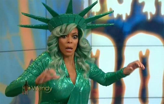 The TV host can be seen losing her balance and falling backwards. Source: The Wendy Williams Show