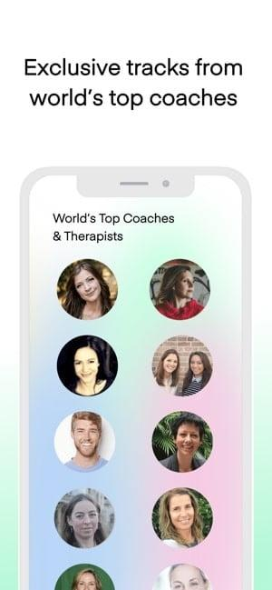 Screenshot of the Aura app showing pictures of coaches and text saying Exclusive tracks from world's top coaches