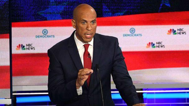 PHOTO: Sen. Cory Booker participates in the first Democratic primary debate of the 2020 presidential campaign season hosted by NBC News at the Adrienne Arsht Center for the Performing Arts in Miami, June 26, 2019. (Jim Watson/AFP/Getty Images)