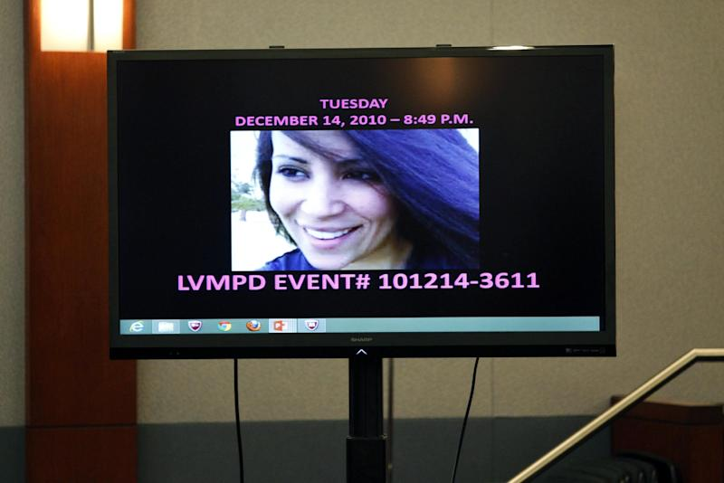 """Deborah Flores Narvaez appears on a screen during the trial of Jason Omar Griffith at the Regional Justice Center , Thursday, May 8, 2014, in Las Vegas. Griffith is accused of murdering Luxor """"Fantasy"""" dancer Deborah Flores Narvaez in December 2010. (AP Photo/Las Vegas Review-Journal, John Locher) LOCAL TV OUT; LOCAL INTERNET OUT; LAS VEGAS SUN OUT"""