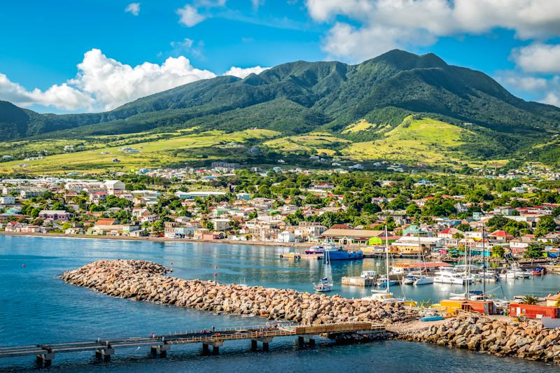 Landscape of St Kitts Island, Leeward Islands. View from cruise port Zante, Basseterre.