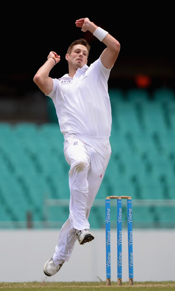 SYDNEY, AUSTRALIA - NOVEMBER 16:  Boyd Rankin of England bowls during day four of the tour match between CA Invitational XI and England at the Sydney Cricket Ground on November 16, 2013 in Sydney, Australia.  (Photo by Gareth Copley/Getty Images)