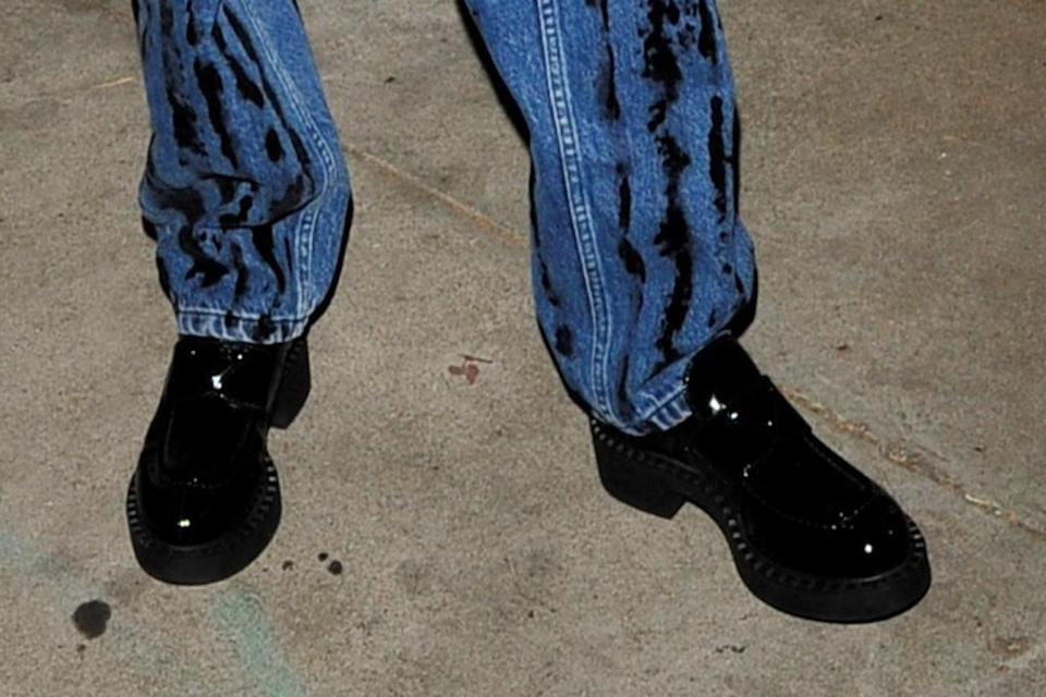 A closer look at D'Amelio's Prada loafers. - Credit: twoeyephotos/MEGA
