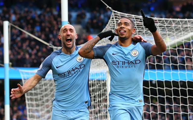 <span>Gabriel Jesus (right) is closing in on a return</span> <span>Credit: GETTY IMAGES </span>