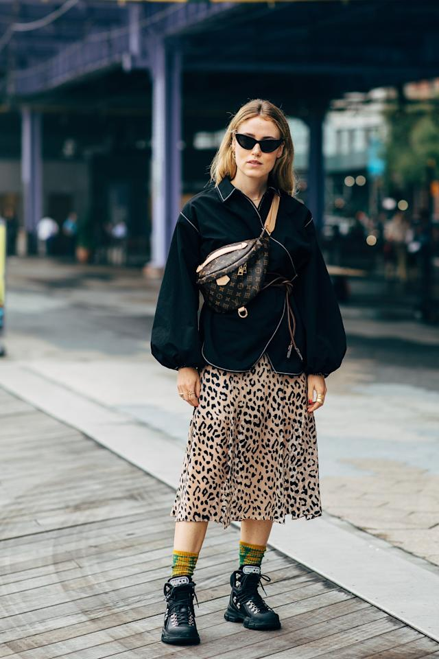 <p>Wear them with a leopard print skirt and balloon-sleeved top.</p>