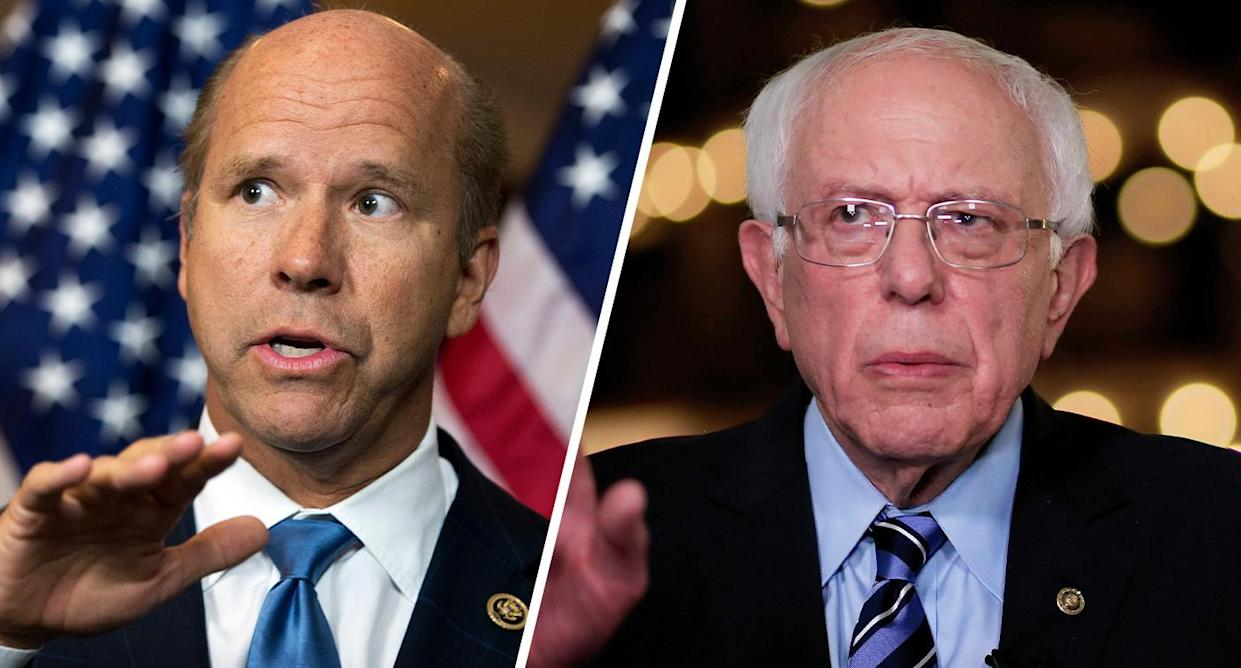 John Delaney and Bernie Sanders. (Photos: Tom Williams/CQ Roll Call/Getty Images/Cliff Hawkins/Getty Images)