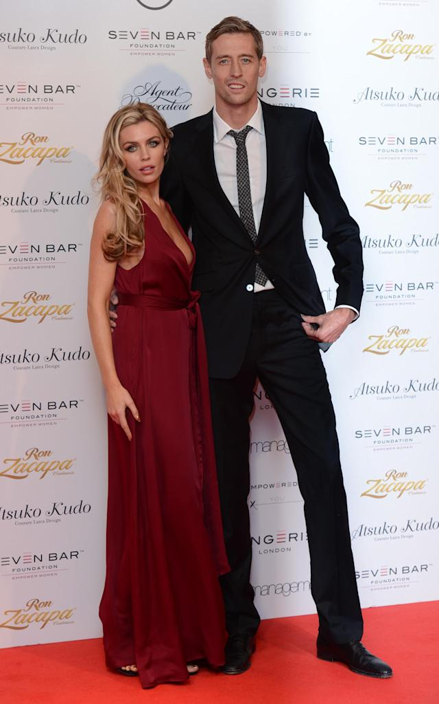 Abigail Clancy and Peter Crouch arriving at Lingerie London, Old Billingsgate Market, London.