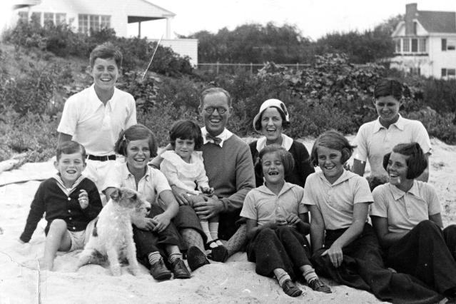 <p>The Kennedy family is shown with dog Buddy in Hyannis Port, Mass., Sept. 4, 1931. From left are: Robert Kennedy, John F. Kennedy, Eunice Kennedy, Jean Kennedy (on lap of) Joseph P. Kennedy Sr., Rose Fitzgerald Kennedy (behind) Patricia Kennedy, Kathleen Kennedy, Joseph P. Kennedy Jr. (behind) Rosemary Kennedy. (Photo: Richard Sears/John F. Kennedy Presidential Library and Museum) </p>