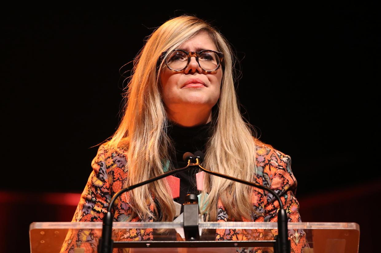 LONDON, ENGLAND - MARCH 08: Emma Barnett during the #March4Women 2020 at  on March 08, 2020 in London, England. The event is to mark International Women's Day. (Photo by Lia Toby/Getty Images)