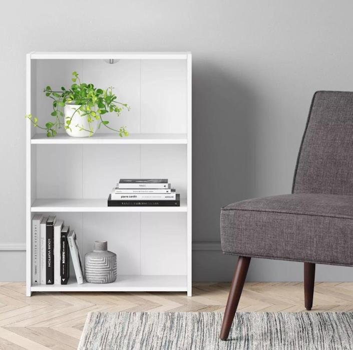 <p>If you've got a lot of books, this <span>Target 3 Shelf Bookcase</span> ($25) is relatively compact and easy to place anywhere in your home.</p>