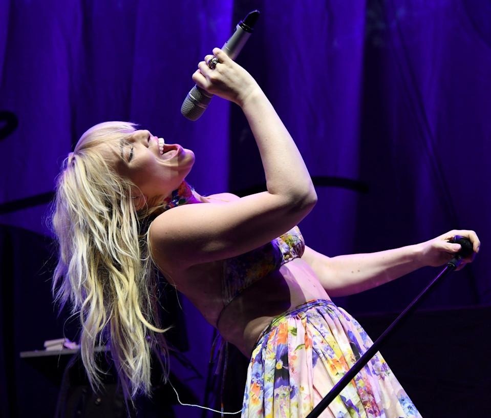 Natasha Bedingfield performs as she opens for Train during the kickoff of their Play That Song Tour at MGM Grand Garden Arena on May 12, 2017, in Las Vegas.