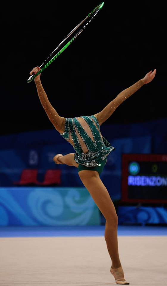 BEIJING - AUGUST 23: Irina Risenzon of Israel competes in the Individual All-Around final held at the University of Science and Technology Beijing Gymnasium on Day 15 of the Beijing 2008 Olympic Games on August 23, 2008 in Beijing, China.  (Photo by Mike Hewitt/Getty Images)