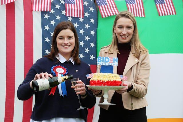 Fifth cousins of Joe Biden, councillor Andrea McKevitt, left, and her sister Ciara, from Co Louth celebrating the US president's inauguration earlier this year