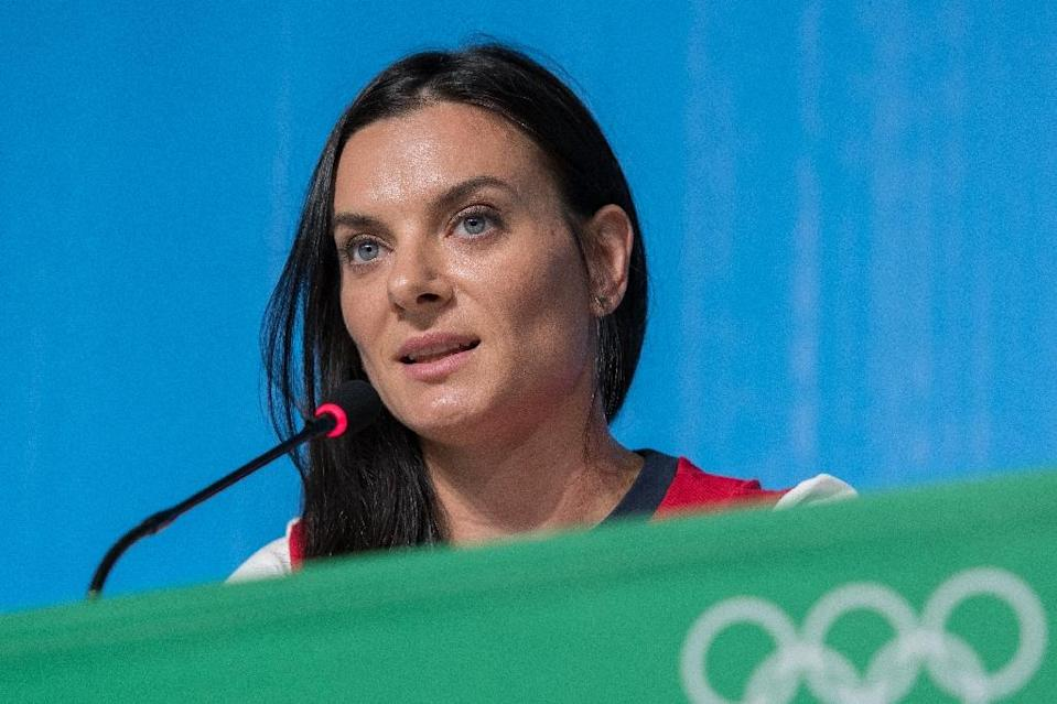 Two-time Olympic pole vault champion Russian Yelena Isinbayeva during a press conference where she announced her retirement from athletics (AFP Photo/Laurent Kalfala)