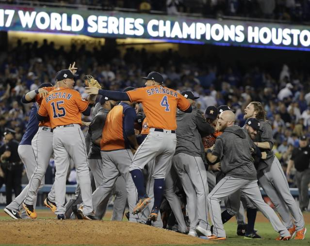 The Houston Astros won the 2017 World Series, and their playoff share bonus is record-breaking. (AP Photo)